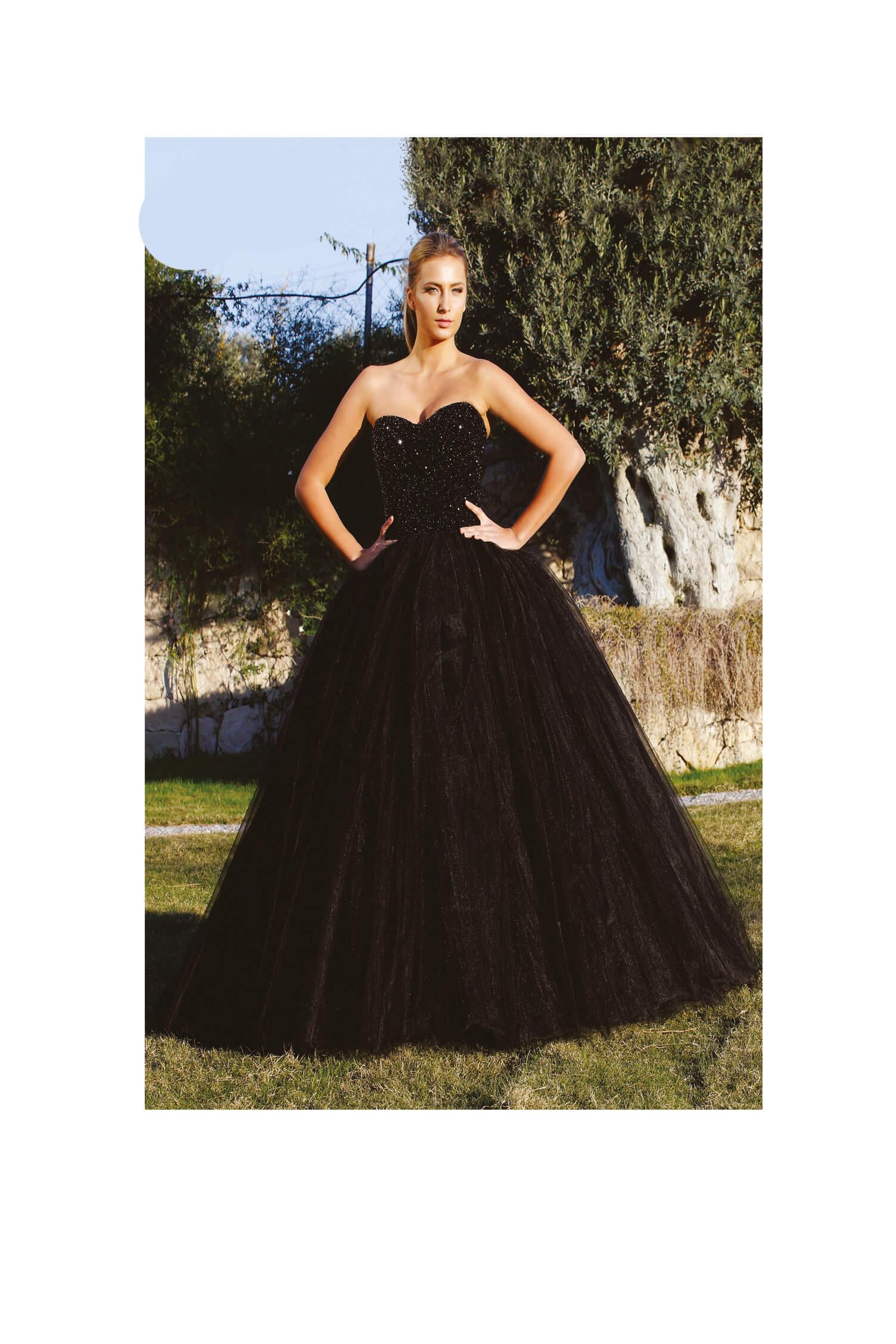 bruidsjurk zwart tule