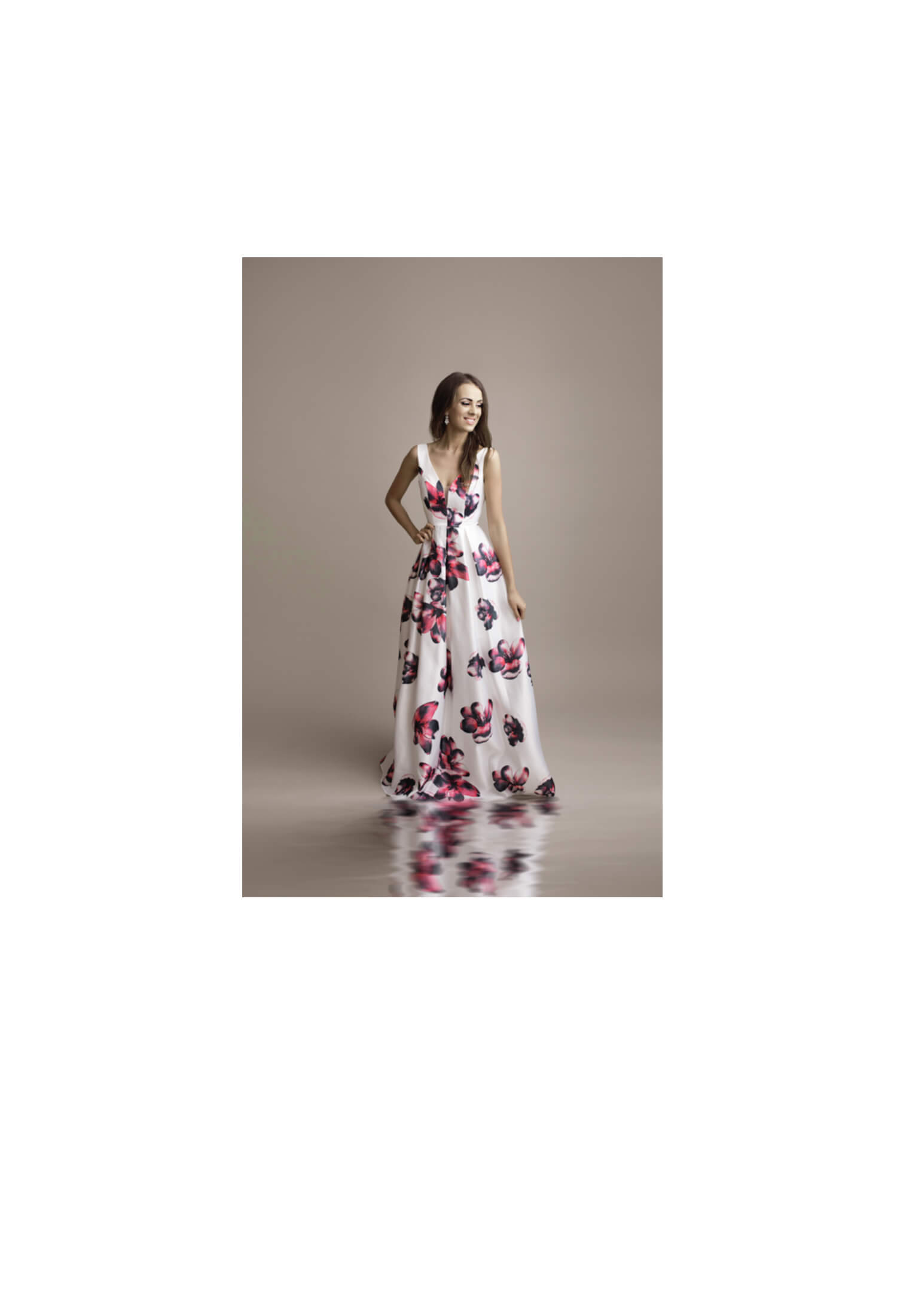 lange satijnen jurk bloemenprint